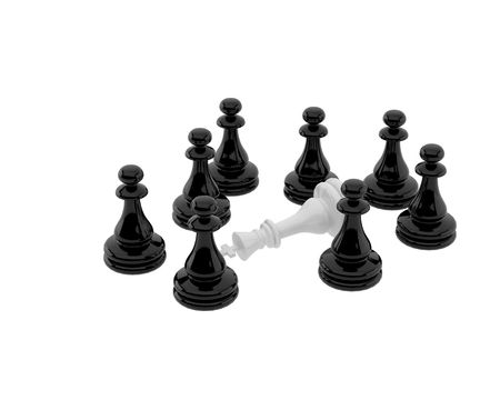 Plastic chess on a white background. Entrapment  of king. photo