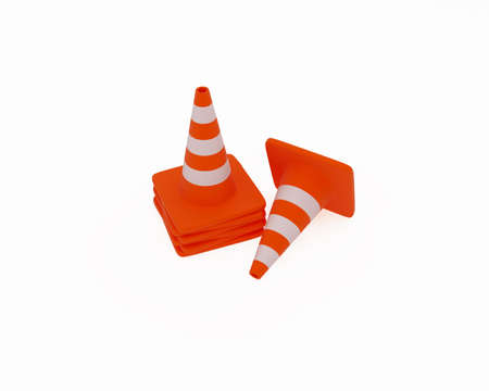 High resolution image of traffic cones. 3d illustration. Stock Illustration - 2291386