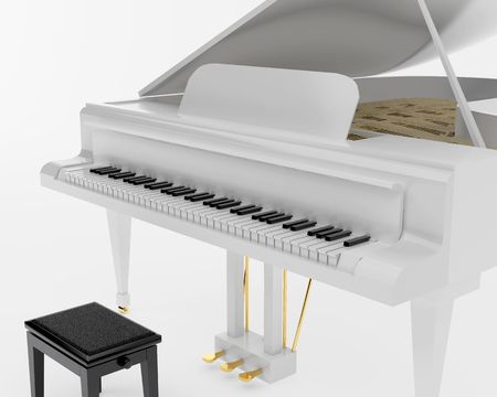 melodic: White grand piano. High resolution image. 3d illustration.