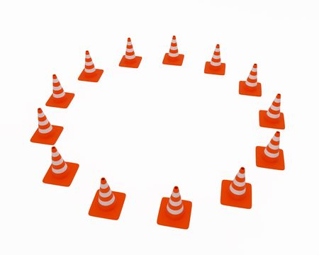 Traffic cones located on a circle. High resolution image. 3d illustration. illustration