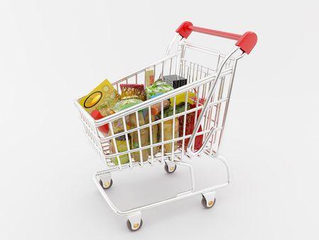 High resolution image shopping cart. 3d illustration over white backgrounds. Stock Illustration - 2299716