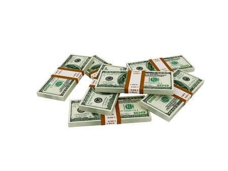 accumulate: High resolution image dollar. 3d illustration over white backgrounds. Stock Photo