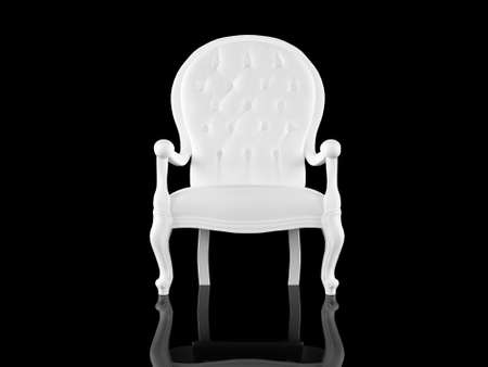 High resolution image white armchair. 3d illustration over  black backgrounds. illustration