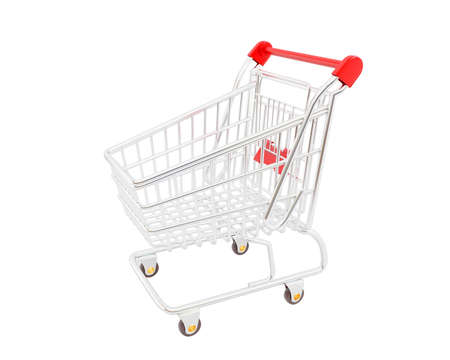 trolly: High resolution image shopping cart. 3d illustration over white backgrounds. Stock Photo