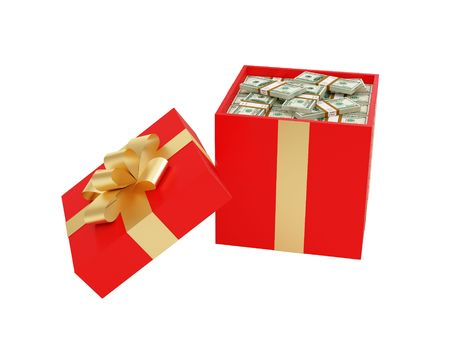 hoard: High resolution image gift box. Work patch from selection. 3d illustration over white backgrounds. Stock Photo