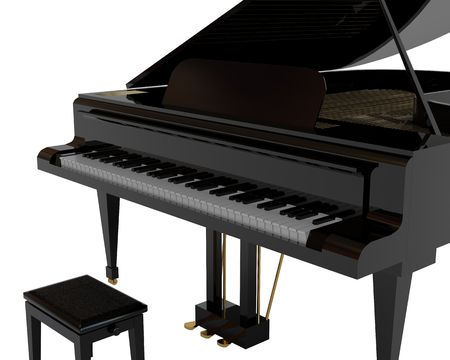 tune: Black piano. High resolution image. 3d illustration.