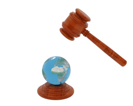 mallet: High resolution image Judge hammer and Planet the Earth. 3d illustration over white backgrounds.
