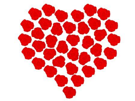 High resolution image  red heart. 3d illustration over  white backgrounds. Stock Illustration - 2456333