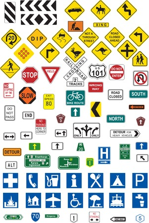 Various road signs Stock Vector - 2503858