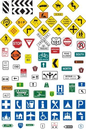 Various road signs Vector