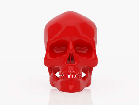 High resolution image red skull. 3d illustration over  white backgrounds. illustration