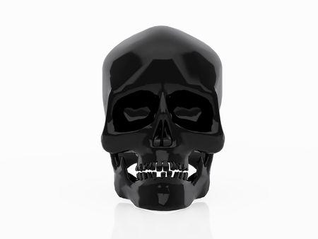 High resolution image black skull. 3d illustration over  white backgrounds. illustration