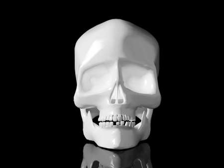 High resolution image white skull. 3d illustration over  white backgrounds. illustration