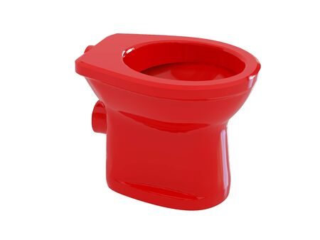 High resolution image red toilet bowl. 3d illustration over  white backgrounds. illustration