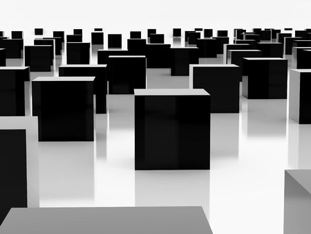 High resolution image  black cube. 3d illustration over  white backgrounds. illustration