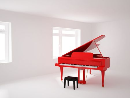 light room: High resolution image 3d room with a grand piano. 3d illustration.