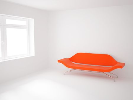 High resolution image 3d room with a sofa. 3d illustration.  illustration