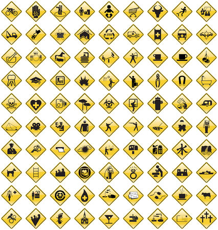 This image is a vector illustration and can be scaled to any size without loss of resolution. 90 various signs. Stock Vector - 2924489