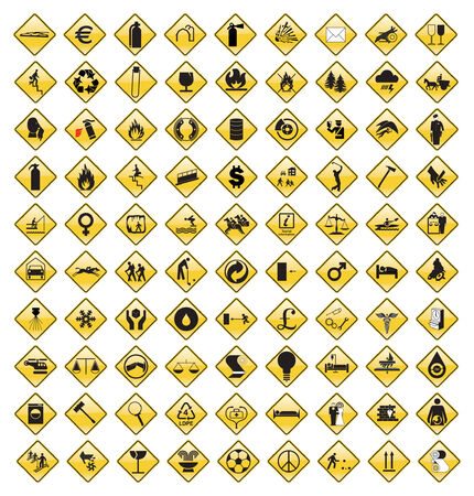 image size: This image is a vector illustration and can be scaled to any size without loss of resolution. 90 various signs.