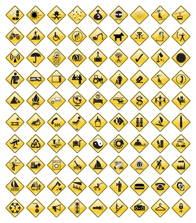 This image is a vector illustration and can be scaled to any size without loss of resolution. 90 various signs. Stock Vector - 2924492