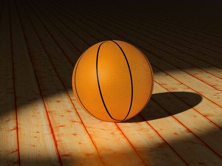High resolution image. Basketball ball on a court - wooden floor. 3d illustration. illustration