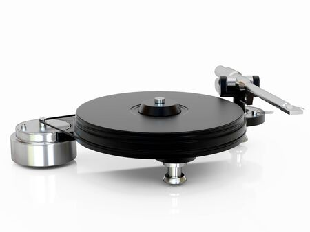 dj turntable: High resolution image turntable. 3d illustration over  white backgrounds. Stock Photo