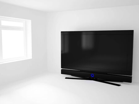 High resolution image 3d room with a  tv. 3d illustration. Stock Illustration - 3067629