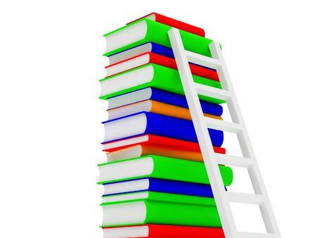 High resolution image books. 3d illustration over  white backgrounds. illustration