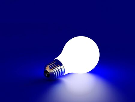 high resolution: High resolution image white bulb on a blue background. 3d illustration.