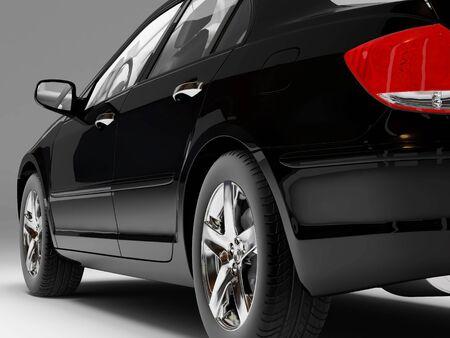 xenon: Imagen de alta resoluci�n coche en un fondo negro. 3d ilustraci�n.