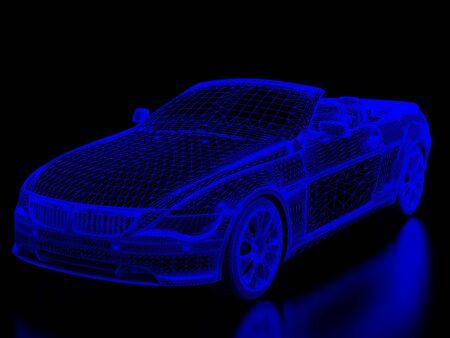cowl: High resolution image car on a black background. 3d illustration.