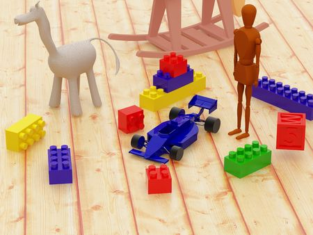 plaything: High resolution image сhildrens room. 3d illustration  toys on a floor.