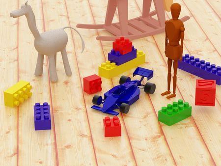 high resolution: High resolution image сhildrens room. 3d illustration  toys on a floor.