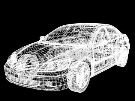 High resolution image car on a black background. 3d illustration. Stock Illustration - 3447983