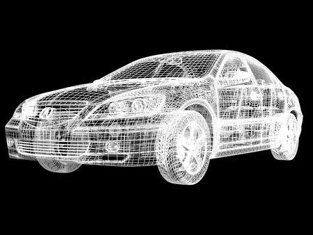 High resolution image car on a black background. 3d illustration. Stock Illustration - 3447982