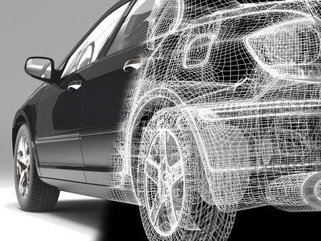 High resolution image car on a black background. 3d illustration.