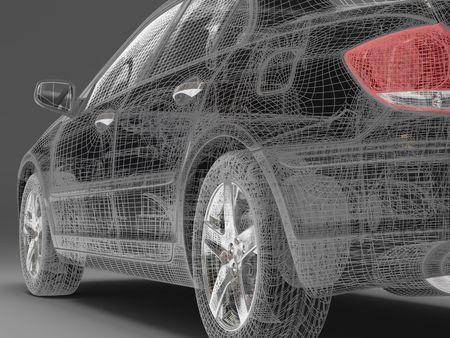 xenon: Imagen de alta resoluci�n de coches en un fondo negro. 3d illustration.