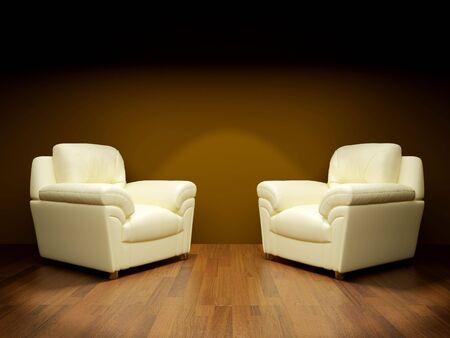 high resolution: High resolution image. Sofa in a dark room. 3d illustration. Stock Photo