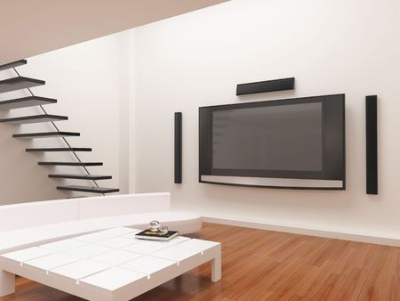 dvd room: High resolution image interior. The rural house in modern style. 3d illustration. Stock Photo