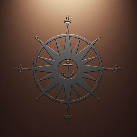 nautical compass: High resolution image symbol on a metal background. 3d illustration. Stock Photo