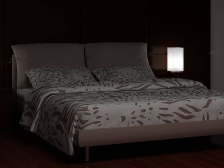 High resolution image interior. A bed in a bedroom. photo