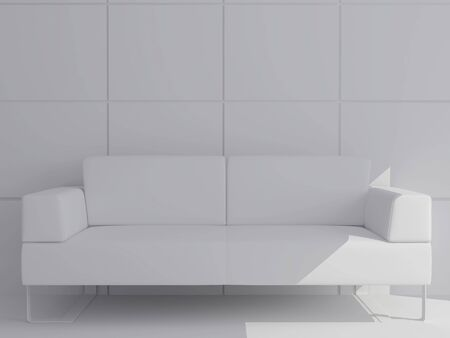 High resolution image interior. Drawing room with a white sofa. photo
