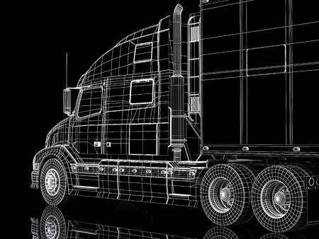 High resolution image lorry on a black background. 3d illustration. Stock Illustration - 3635318