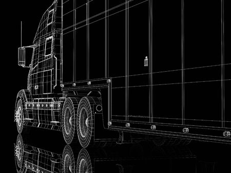 High resolution image lorry on a black background. 3d illustration. Stock Illustration - 3635315