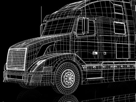 High resolution image lorry on a black background. 3d illustration. Stock Illustration - 3635319