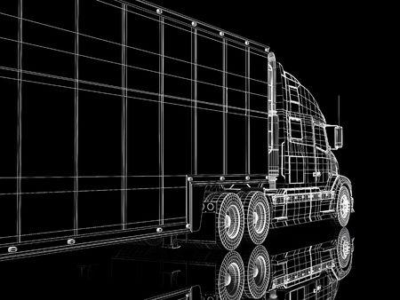 High resolution image lorry on a black background. 3d illustration. Stock Illustration - 3635317