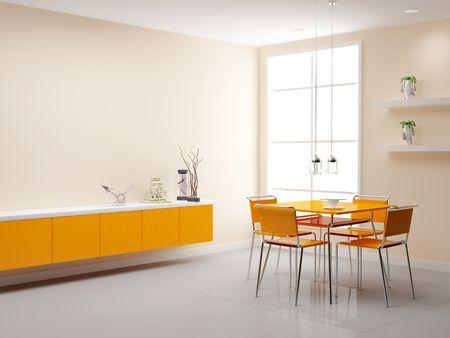 View of a modern kitchen. 3d illustration. Modern interior of kitchen in house.