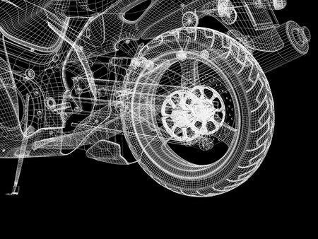 3d bike model. 3d illustration over  black backgrounds. Stock Illustration - 3701189