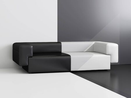 refreshment: High resolution image interior.  Drawing room with a white and black sofa.