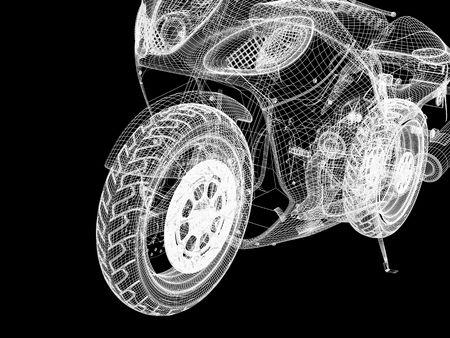 motor bikes: 3d bike model. 3d illustration over  black backgrounds.